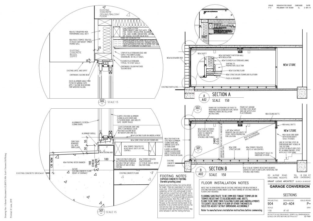Garage Conversion Detailed Drawing