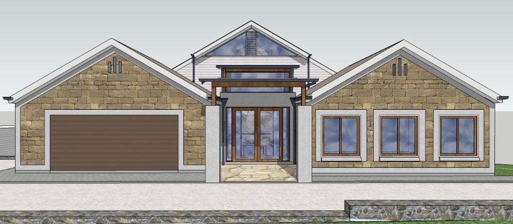NEW COUNTRY HOUSE AT CLARENDON: FRONT ELEVATION SHOWING PORTICO:  ADELAIDE ARCHITECT GRANT LUCAS
