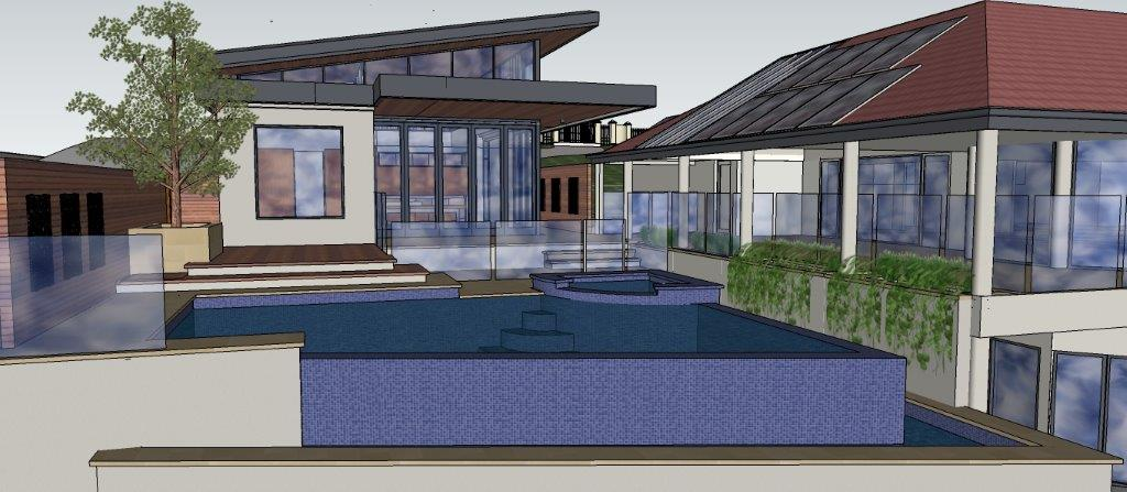 New Infinity edge pool with deck, alfresco and poolhouse, Marino Adelaide: West elevation: Architect Grant Lucas