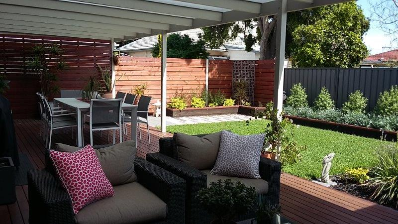 Hard and soft landscaping designed to suit new alfresco area: Adelaide Residential Architect Grant Lucas
