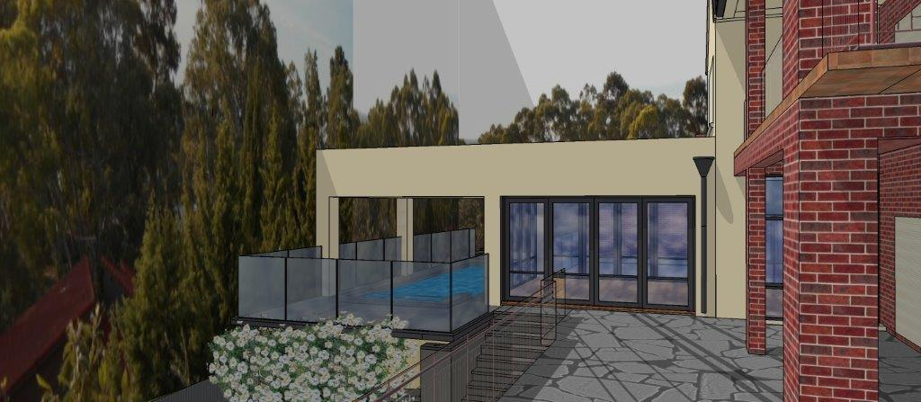 New Conservatiory/sunroom and pool with undercover spa and deck: Glen Osmond, Adelaide: West Perspective: Architect Grant Lucas