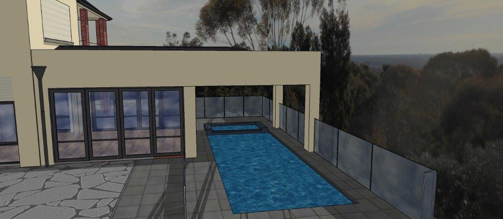 New Conservatiory/sunroom and pool with undercover spa and deck: Glen Osmond, Adelaide: East Perspective: Architect Grant Lucas