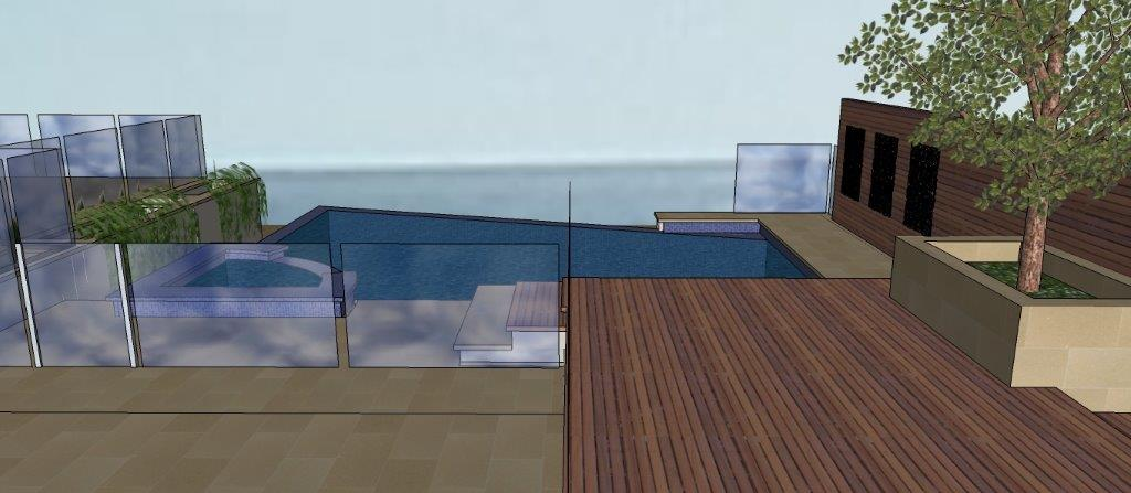 New Infinity edge pool with deck, alfresco and poolhouse, Marino Adelaide: Sea view from deck: Architect Grant Luca