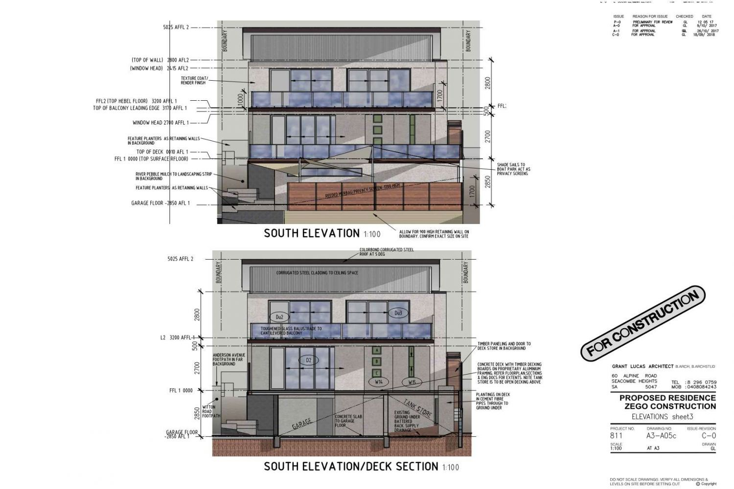 Owner Builder Zego Construction  2 storey Home at Port Noarlunga: Working Drawings Sheet 11  Elevations sheet 3