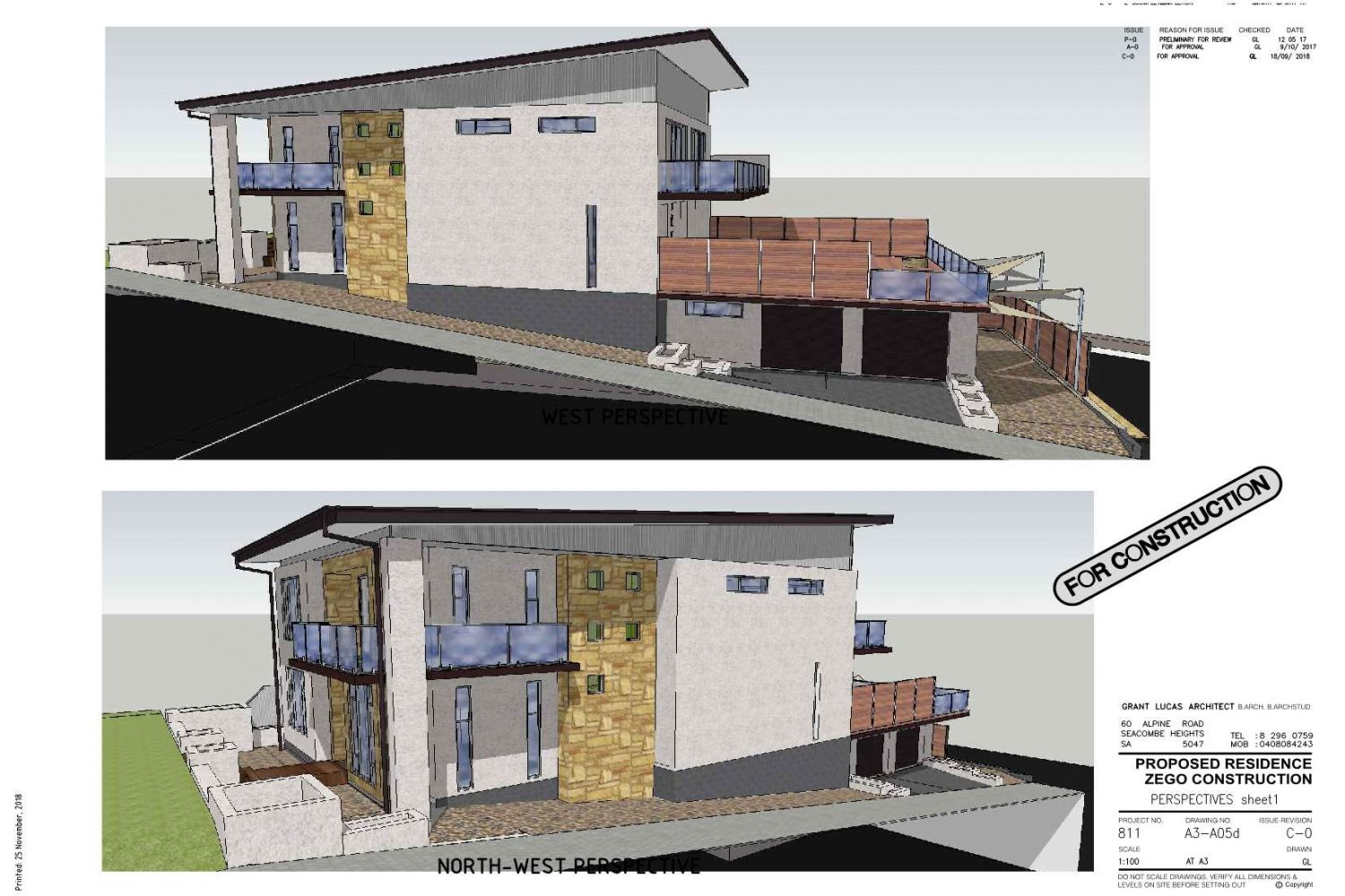 Owner Builder Zego Construction  2 storey Home at Port Noarlunga: Working Drawings Sheet 12: Perspectives sheet 1