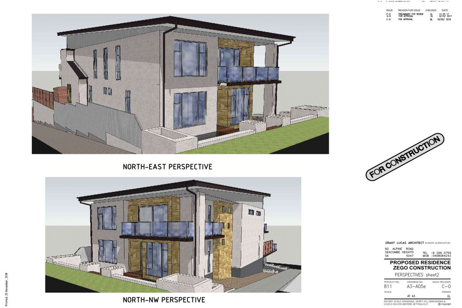 Owner Builder Zego Construction  2 storey Home at Port Noarlunga: Working Drawings Sheet 13: Perspectives sheet 2