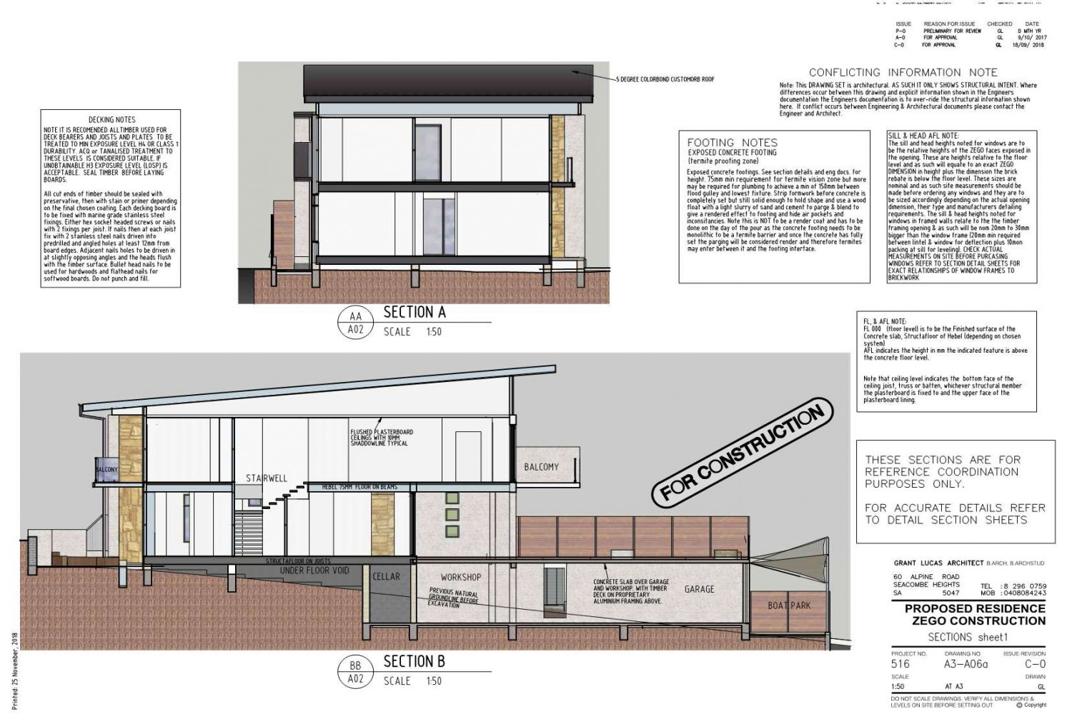 Owner Builder Zego Construction  2 storey Home at Port Noarlunga: Working Drawings Sheet 14:  Section key