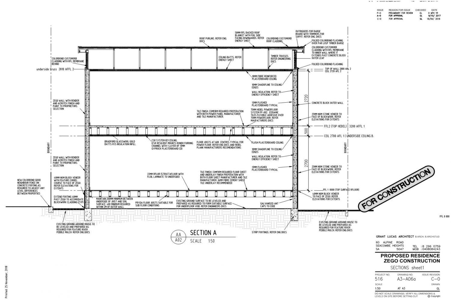 Owner Builder Zego Construction  2 storey Home at Port Noarlunga: Working Drawings Sheet 15: Section sheet 1
