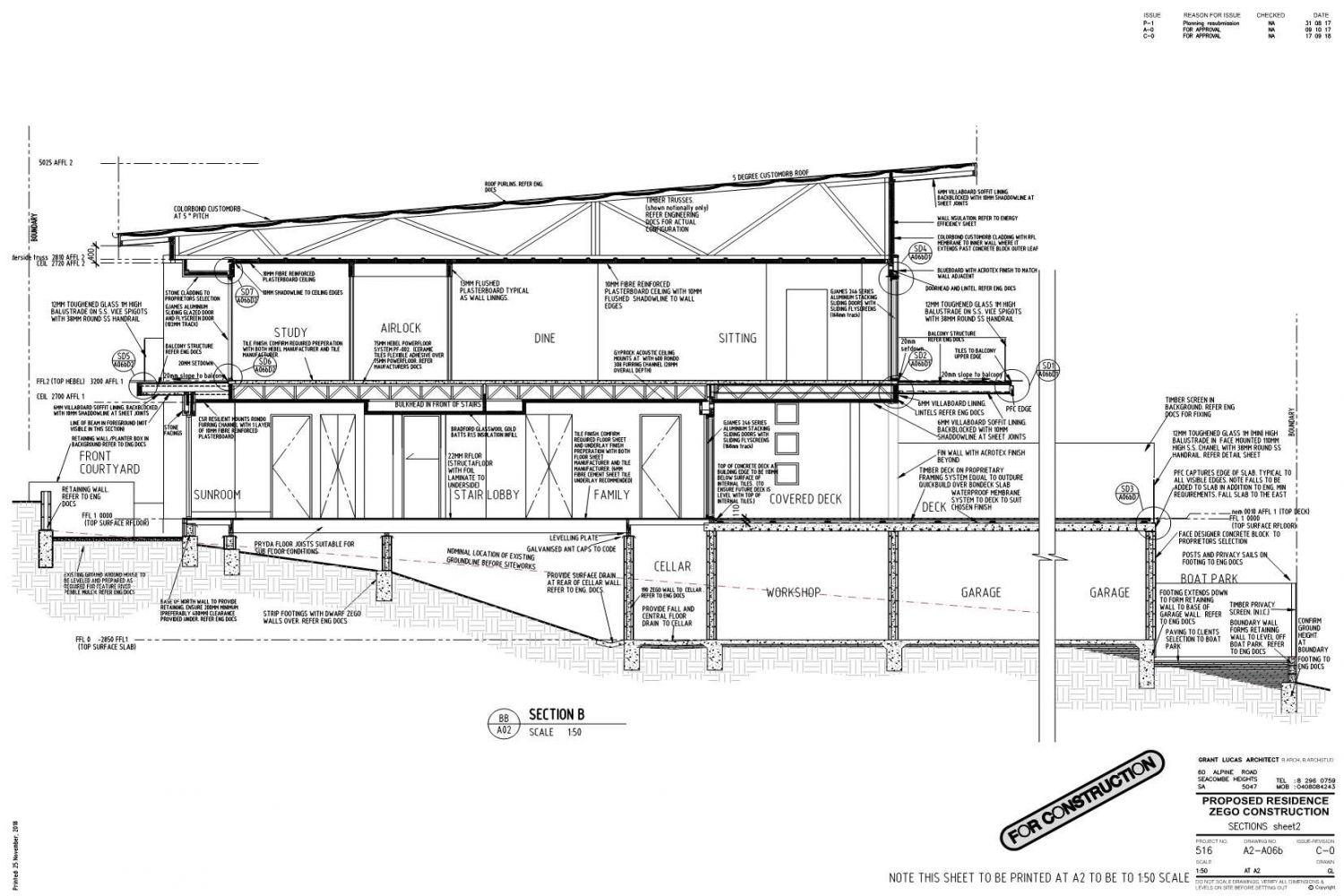 Owner Builder Zego Construction  2 storey Home at Port Noarlunga: Working Drawings Sheet 16: Section sheet 2