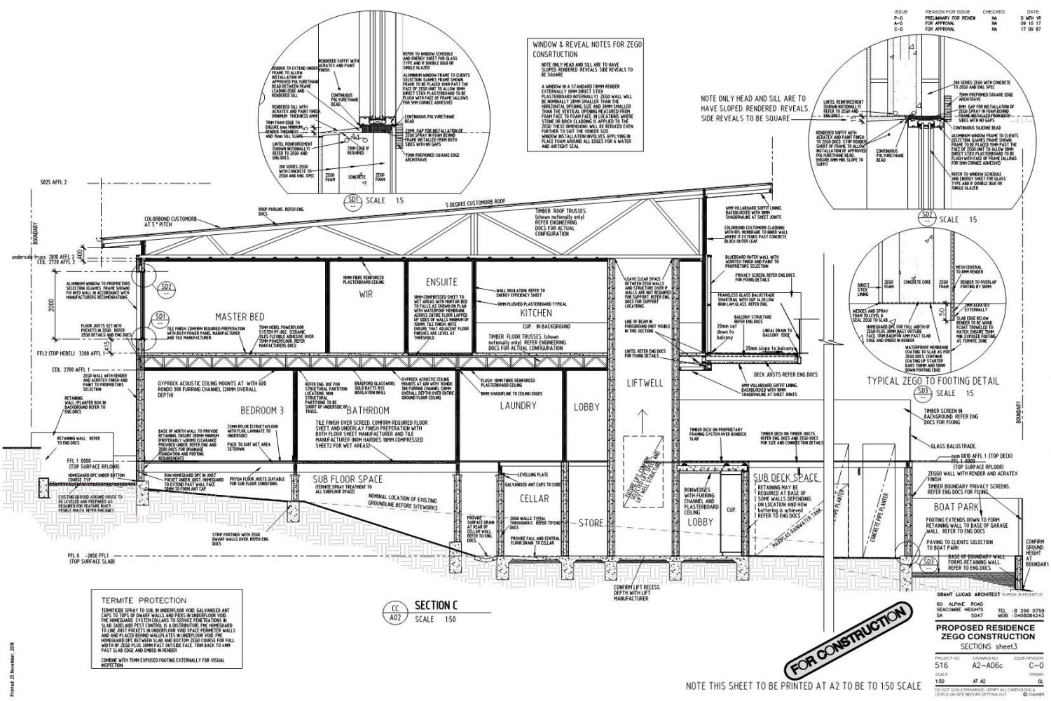 Owner Builder Zego Construction  2 storey Home at Port Noarlunga: Working Drawings Sheet 19: Sections sheet 3