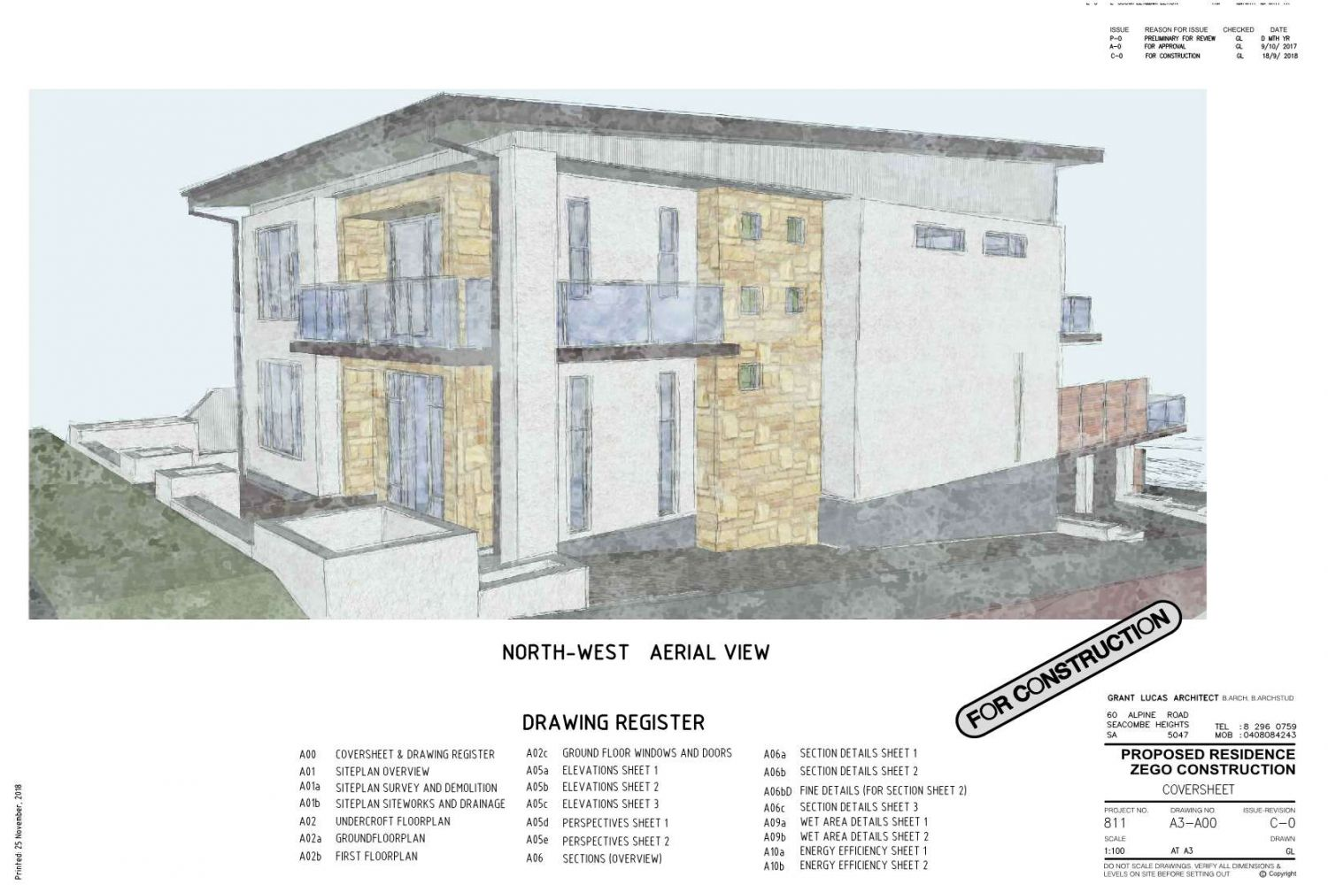 Owner Builder 2 storey Home at Port Noarlunga: Working Drawings Sheet 1: Perspective and Drawing Register