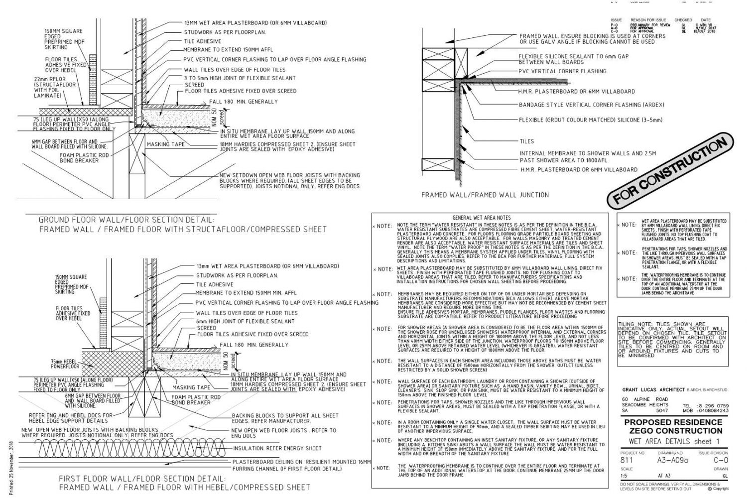 Owner Builder Zego Construction  2 storey Home at Port Noarlunga: Working Drawings Sheet 20: Wet area details sheet 1