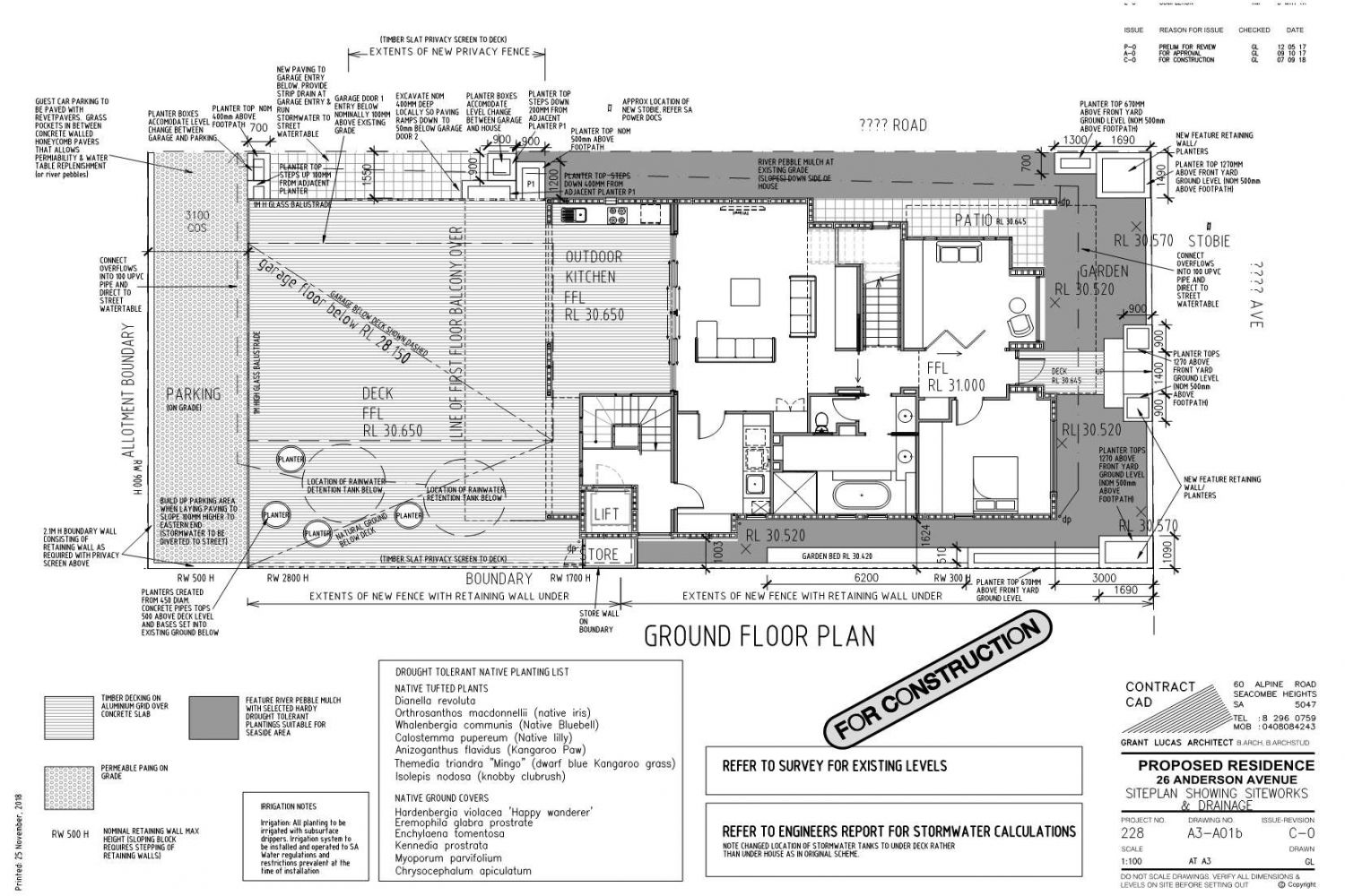 Owner Builder Zego Construction  2 storey Home at Port Noarlunga: Working Drawings Sheet 4  Siteplan with Drainage