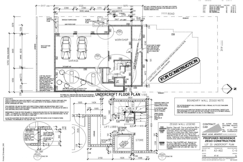 Owner Builder Zego Construction  2 storey Home at Port Noarlunga: Working Drawings Sheet 5  Basement Plan
