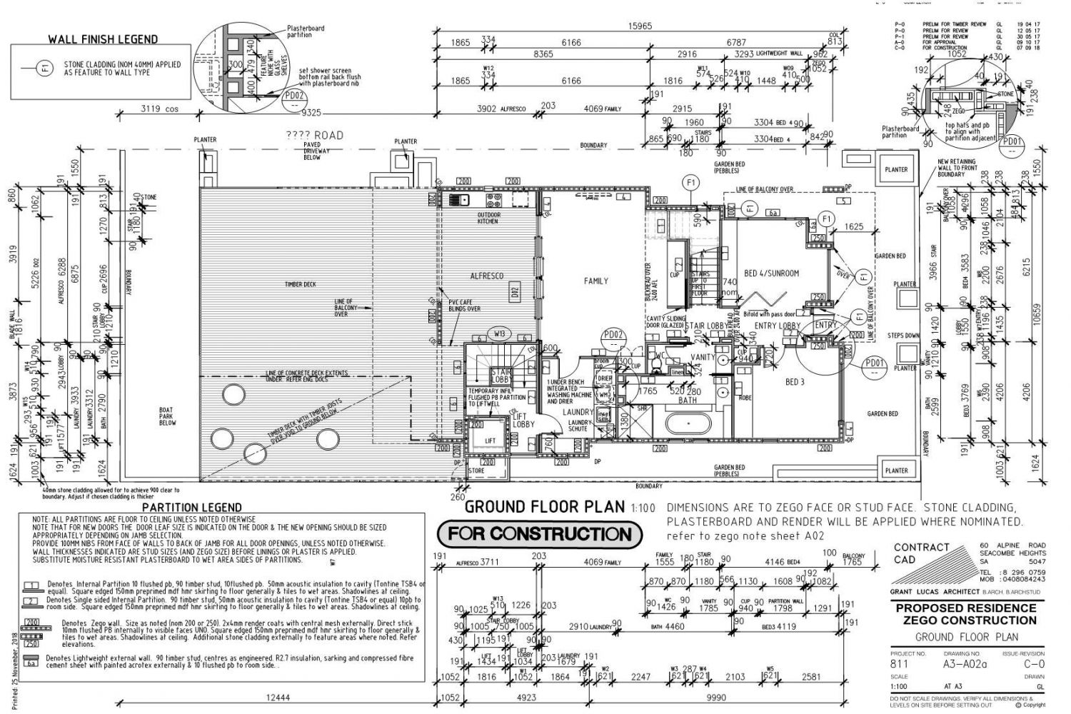 Owner Builder Zego Construction  2 storey Home at Port Noarlunga: Working Drawings Sheet 6 Ground floor plan