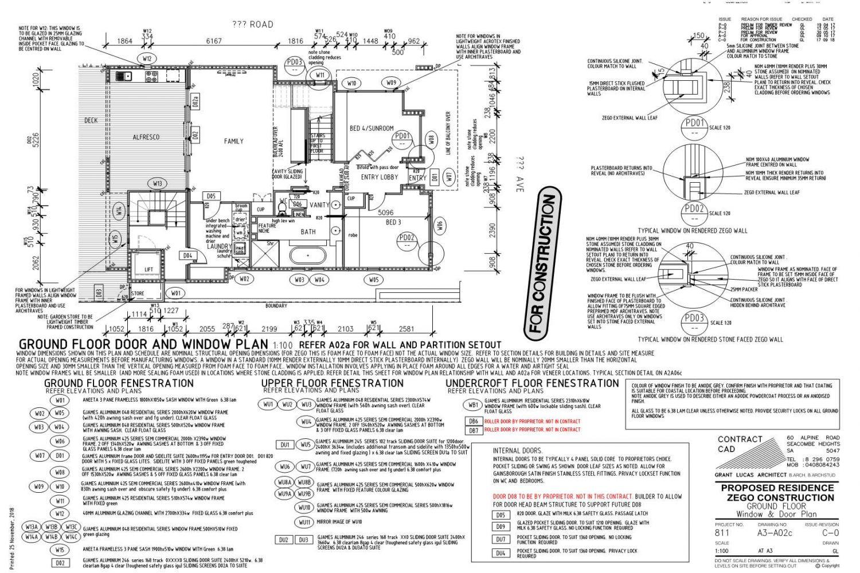 Owner Builder Zego Construction  2 storey Home at Port Noarlunga: Working Drawings Sheet 7 Ground floor Window plan