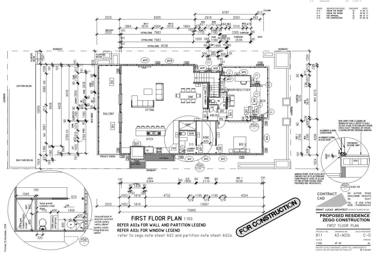 Owner Builder Zego Construction  2 storey Home at Port Noarlunga: Working Drawings Sheet 8  First floor plan