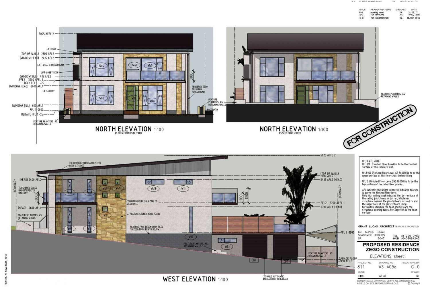 Owner Builder Zego Construction  2 storey Home at Port Noarlunga: Working Drawings Sheet 9  Elevations